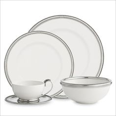 A variation on our popular Tuscan dinnerware, the Perlina Collection is made from white ceramic with a delicately beaded hand-finished pewter rim.  As versatile as it is beautiful, this collection is perfect for everything from daily use to fine dining, and is lovely paired with our Tesoro Dinnerware.  Dishwasher safe.