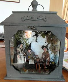 witches tea..love putting a minature setting in a lantern..I think I have just the right one!