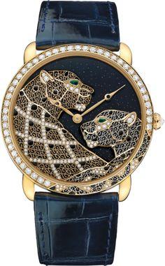 Cartier d'Art Ronde Louis Cartier filigree panthers décor watch XL, 18K yellow gold, leather, emerald, diamonds
