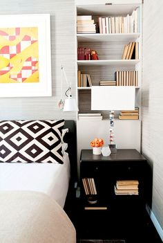 Master #bedroom with built-in shelving and grasscloth #wallpaper