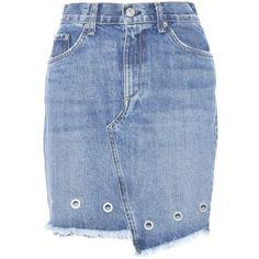 Rag & Bone Dive Embellished Denim Miniskirt (15.310 RUB) ❤ liked on Polyvore featuring skirts, mini skirts, bottoms, suknje, blue, denim skirt, blue skirt, blue mini skirt, short skirts and mini skirt