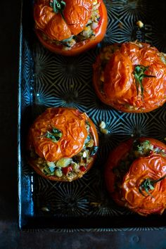 @Helene Dujardin's Farro and Vegetable-Stuffed Tomatoes are a filling and delightfully healthy meal. Can't wait to try this. /ES
