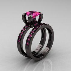 modern french 14k black gold 10 carat princess pink sapphire engagement ring weding band bridal set ar125s 14kbgps - Black And Pink Wedding Ring Sets