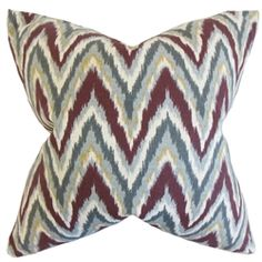Matisse Zigzag Euro Sham Currant, Multi, The Pillow Collection (Cotton, Graphic)