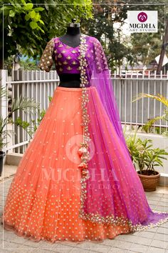 Fuchsia violet combined with Plup orange overall golden embroidered on blouse and matchup dupatta beautifully with soft florals get this look only on MugdhaArtStudioFor Order (or) EnquiryWhats app 8142029190 / 9010906544 20 September 2018 Lehenga Saree Design, Half Saree Lehenga, Lehnga Dress, Indian Lehenga, Lehenga Designs, Baby Lehenga, Lehenga Dupatta, Lehenga Skirt, Kids Lehenga