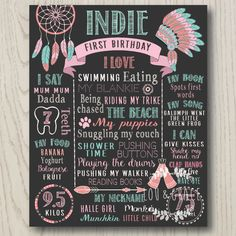 Tribal First Birthday ChalkBoard Print - 1st 2nd 3rd 4th. Birthday chalkboard, Story Board, Milestone Print, Photo prop, Native indian Printable by LouandGrace on Etsy