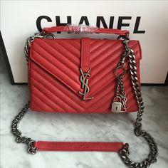 Ysl College, College Bags, Ysl Bag, Chanel Boy Bag, Deerskin, Saint Laurent Bag, Red Color, Shoulder Bag, Handbags