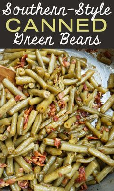 Southern-Style Canned Green Beans! The trick to making perfectly cooked Southern-style green beans with canned beans - the beans don't fall apart but taste like they've cooked all day! Side Dish Recipes, Vegetable Recipes, Can Green Beans, Green Bean Recipes, Side Salad, Fruit And Veg, Veggie Dishes, Vegetable Side Dishes, Southern Recipes