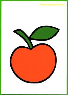 Het appeltje van Dick Bruna. In deze appel zie je geen plasticiteit. Het is qua vorm een vereenvoudigd appeltje (of schematisch weergegeven maar het appektje blijft wel figuratief!!) Geen schaduwwerking (licht)  en het ligt plat op het vlak.