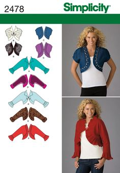 Para mujer del patrón de costura chaqueta bolero 2478 Simplicidad