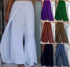 Our layered pant looks like a wrap pant! Absolutely stunning look, dress up or casual wear. made of top quality rayon. Elastic waist for an easy fit.  Choose White, Purple, Green, Rust Brown, Taupe Brown, Black, or Denim Blue. Buy Stunning Layered Faux Wrap Elastic Waist Pants to fit XS S M L XL OS 1X 2X 3X 4X 5X 6X