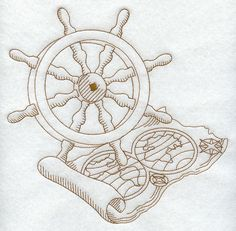 Ship Wheel and Map design (C8676) from www.Emblibrary.com