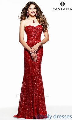 Strapless Sweetheart Sequin Formal Gown by Faviana at SimplyDresses.com