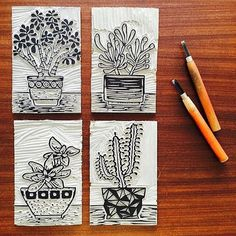 Lino printing - The Sentimentalist - Cactus