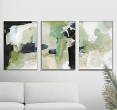 Abstract Art Print Set, Set of 3 Prints, Green Abstract Painting, Printable Abstract, instant downlo Art Mural Vert, Art Vert, Grand Art Mural, Green Wall Art, Green Art, Green Paintings, Contemporary Abstract Art, Abstract Landscape, Art Original