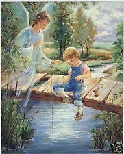 Catholic Print Picture GUARDIAN ANGEL w little BOY fishing Religious 8x10