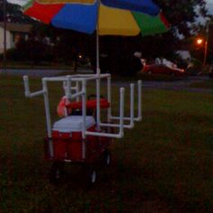 A beach cart: wagon from tractor supply, PVC pipes, will hold: cooler, umbrella, chairs, boogie boards, beach toys, and beach games!!!!