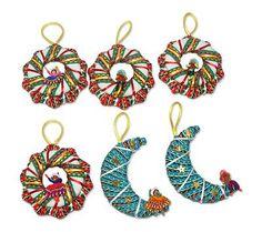 Cotton blend ornaments, 'Andean Feast' (set of 6) - Cotton blend ornaments (Set of 6)