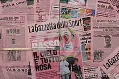 Advertising panel for Italian cycling tour Giro d`Italia, sports competition, pink jersey