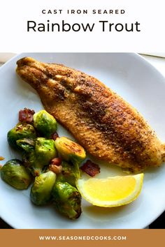 We paired this cast iron seared rainbow trout with pan roasted brussels sprouts with bacon. The cast iron gives the trout a delicious sear! Sprouts With Bacon, Cast Iron Skillet, Rainbow Trout, Roasting Pan, Brussels Sprouts, Learn To Cook, Main Dishes, Cooking, Breakfast
