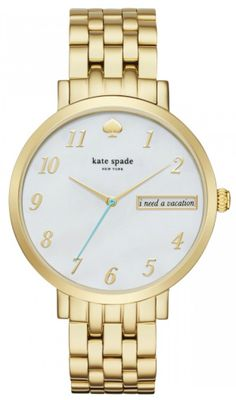 In love with this gold watch from Kate Spade! Polished numeral indexes complement the high-shine finish of the vintage-inspired bracelet while a lighthearted message peeks through a window in the mother-of-pearl dial. Brand Name Watches, Kate Spade Watch, Watch Sale, Stainless Steel Bracelet, Quartz Watch, Gold Watch, Jewelery, Pearl Jewelry, Bracelet Watch
