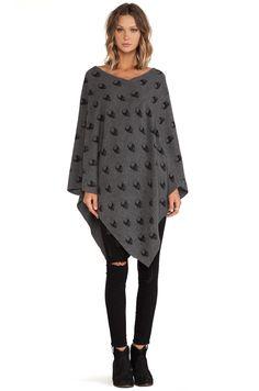 360 Sweater Skull Tunic in Charcoal & Black
