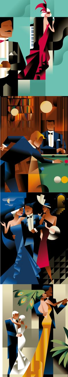 Gatsby inspired posters by Mads Berg. This style is so cool.