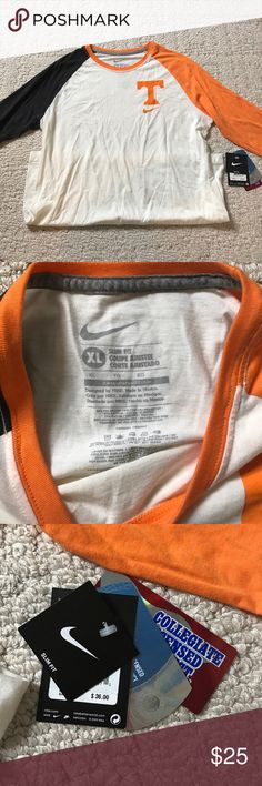 NWT! Tennessee Vols baseball-style Tee! Baseball sleeves that are charcoal and UT orange. Power T and Nike swoosh on the top left of the shirt. Perfect for game day! Nike Tops