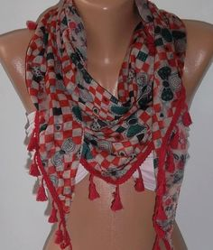 Red  Elegance Shawl / Scarf  with Lace Edge by womann on Etsy, $13.50