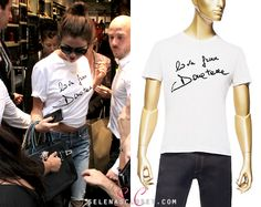 """Selena Gomez has spent her time off from her Stars Dance Tour, living it up large in Milan with friends. She was photographed yesterday wearing a Versace """"Love From Donatella"""" Mens T-Shirt. This top. Selena Gomez T Shirt, Selena Gomez Casual, Selena Gomez Closet, Latest Outfits, Versace, Celebrity Style, T Shirts For Women, Milan, My Style"""