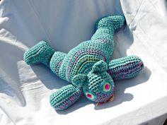 green cat cuddly toy by crochettine on Etsy, €28.00
