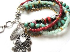 Turquoise and Red Coral Beaded Gypsy Heart Bracelet