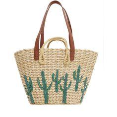 MANGO Straw Bag (1.895 CZK) ❤ liked on Polyvore featuring bags, handbags, mango handbags, white bags, white purse, straw handbags and mango bags
