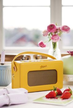 So cute! Mustard coloured Vintage Radio. Put this in the conservatory with a bright handmade crotched blanket..