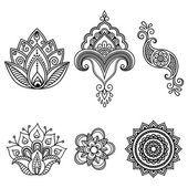 Henna-Tattoo Blume Vorlage. Mehndi. Satz — Stockvektor #115069114