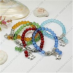 Fashion Tibetan Style Bracelets, with Glass Beads and Elastic Threads, Mixed Color