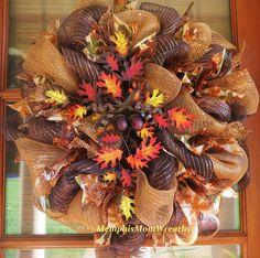 Fall+Deco+Mesh+Wreath++Fall+Wreath++Cross+by+MemphisMomWreaths,+$65.00