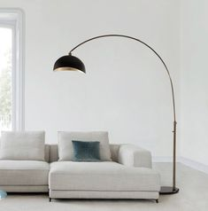 This modern lifestyle Arched Floor Lamp provides an industrial look to any contemporary environment. The rounded, black marble base secures a steel arc which reaches over sectionals and sofas for functional over head lighting. Curved Floor Lamp, Tree Floor Lamp, Arc Floor Lamps, Contemporary Floor Lamps, Modern Floor Lamps, Modern Table, Arch Lamp, Silver Floor Lamp, Black Floor Lamp