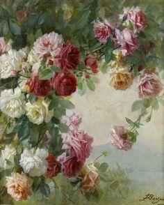 """"""" Roses at a Lake, Licinio Barzanti (1857 - 1944) """""""