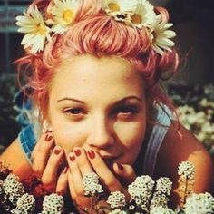 Drew Barrymore with pink hair in the 90s.