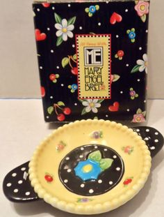 """$14.98/ Ceramic Tea Bag Rest/Holder features Mary Engelbreit  floral artwork RETIRED pattern """"Tea Blossoms"""" #71119 ~item is NEW IN BOX ~~view over 575 items in 25 categories of merchandise in my ebay store. I ship globally~ www.shellyssweetfinds.com"""