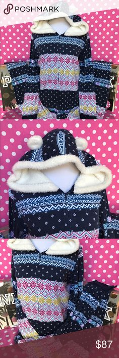 🆕NWT VS hooded Sherpa onesie pajamas ✅NWT Victoria s Secret fireside  hooded Sherpa onesie pajamas 72e6556a48f0