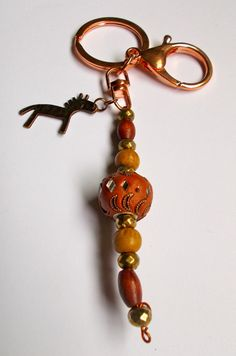 Rose Gold Keychain with Parrot Clasp - Ethnic Beads & Antique Copper Horse - Length 125mm approx by NomvulaCrafts on Etsy