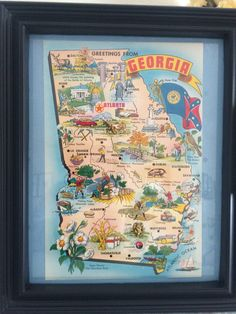 A personal favorite from my Etsy shop https://www.etsy.com/listing/516054493/8-x-10-framed-vintage-georgia-map