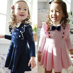 2013 New Arrival Baby Girls' Spring& Summer  Double Breasted Dress  Fashion Baby Child Navy and Pink Long-sleeve Princess Dress  $17.88