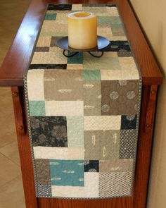 Modern Quilted Table Runner In Grey Navy Aqua Teal And Cream, Contemporary  Minimalist Table Runner, Modern Table Topper, Quiltsy Handmade