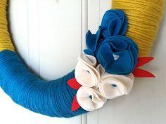 Mustard yellow summer yarn wreath