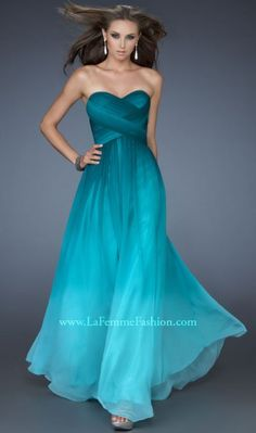 La Femme 18497 Ombre Print Evening Dress