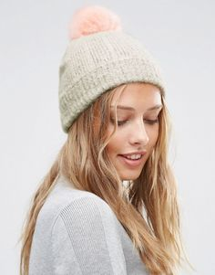 ASOS Fluffy Gray Beanie With Pink Faux Fur Pom