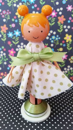 """""""Cherie"""" clothespin doll. Find more like these on FB at https://www.facebook.com/the.doll.house.in.ar OR purchase on Etsy at https://www.etsy.com/shop/MountStCraftMess"""